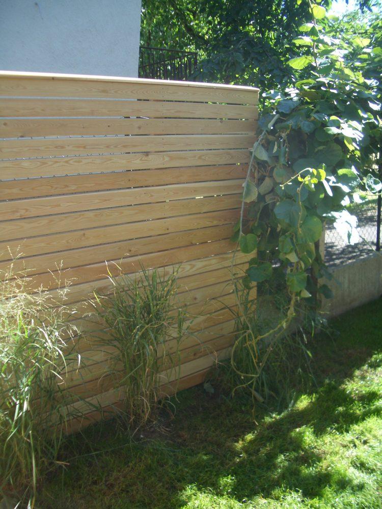 Gartengestaltung Holzwand Sibirische Lärche Holzbau Feuerfeil